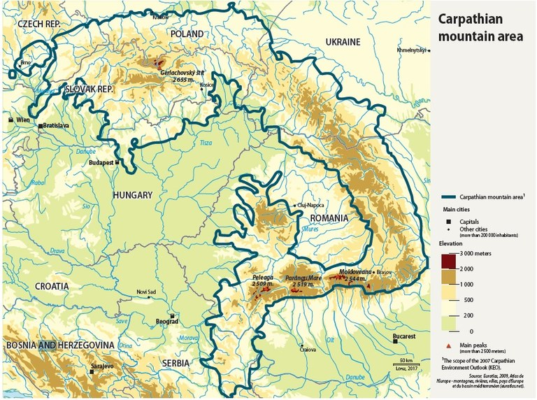carpathian mountains map europe Adaptation in Carpathian Mountains — Climate ADAPT