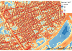 The maximum WBGT [°C] during a hot summer day for a quarter in the city centre of Antwerp