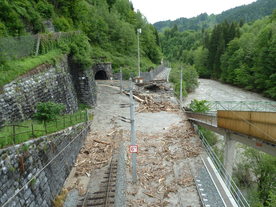 Debris flow event close to Taxenbach in June 2013