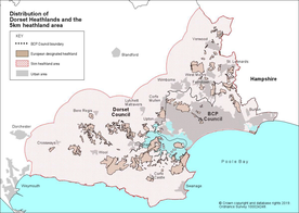 Distribution of Heathland sites and the 5km Buffer Zone