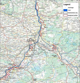 Overview of designated reservoirs to increase retention capacity along the Upper Vistula