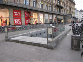 Climate-proof metro entrance at Kongens Nytorv