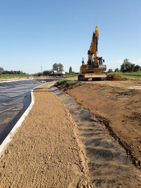Detention basin under construction in the agricultural area of Giavenale